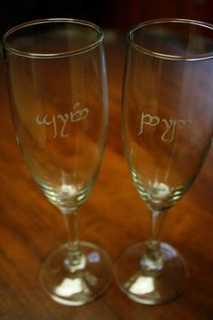 Elvish Bride and Groom champagne flutes  Add the perfect geeky flourish to your wedding day!