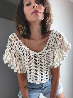 Crochet Summer Tops, Crochet Crop Top, Crochet Cardigan, Crochet Designs, Crochet Patterns, Crochet Bedspread Pattern, Finger Crochet, Crochet Stitches For Beginners, Crochet Girls