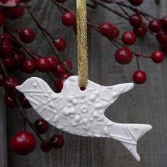 Porcelain Dove Christmas Decoration
