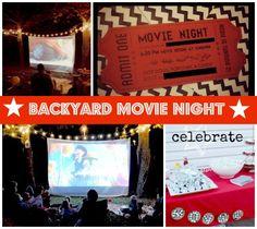 Backyard Movie Night Birthday Party...movie screen like this Anna and Aimee?