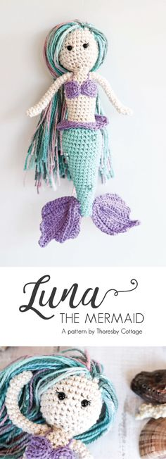 A beautiful Luna the mermaid crochet pattern - all the steps for how to crochet your own mystical mermaid amigurumi doll. Crochet Simple, Crochet Diy, Easy Crochet Projects, Crochet Patterns Amigurumi, Amigurumi Doll, Crochet Crafts, Crochet Dolls, Crochet Mermaid Pattern, Crochet Animal Patterns