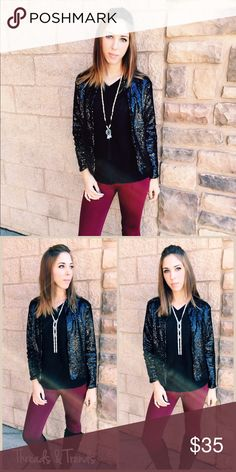 Jet Black Sequin Jacket Perfect for the holidays. Jet black sequin jacket with satin lining. Size S/M , L/XL made of a poly blend. Threads & Trends Jackets & Coats