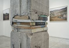 concrete book sculpture