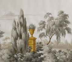 Grisaille with a touch of gold; Jefferson by Griffin & Wong Silk Hand Painted Wallpaper