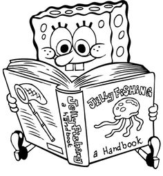 spongebob ridding book coloring page
