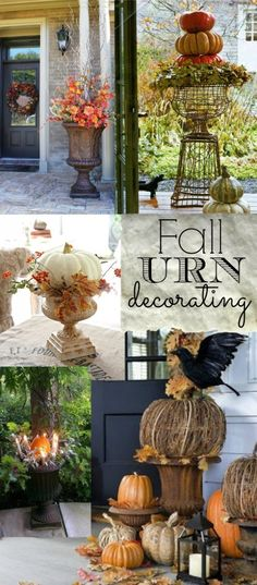 Fall Front Porch and Fabulous Urn Planter - Fox Hollow Cottage I like to decorate for Fall (not Holloween)- Love Fall Colors. Thanksgiving Decorations, Seasonal Decor, Halloween Decorations, Holiday Decor, Apartment Decoration, Decoration Bedroom, Autumn Decorating, Porch Decorating, Decorating Ideas