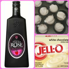 White Chocolate Strawberry Pudding Shots  1 small Pkg. White Chocolate instant pudding ¾ Cup Milk 3/4 Cup Tequila Rose 8oz tub Cool Whip  Directions 1. Whisk together the milk, liquor, and instant pudding mix in a bowl until combined. 2. Add cool whip a little at a time with whisk. 3.Spoon the pudding mixture into shot glasses, disposable shot cups or 1 or 2 ounce cups with lids. Place in freezer for at least 2 hours