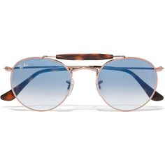 Ray-Ban Round-frame rose gold-tone and acetate sunglasses ($195) ❤ liked on Polyvore featuring accessories, eyewear, sunglasses, tortoise shell sunglasses, round sunglasses, round tortoise sunglasses, uv protection glasses and acetate glasses