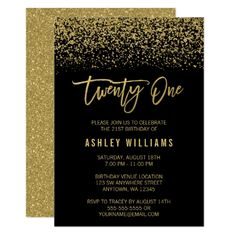 Download 70th birthday invitation designs free printable modern black gold faux glitter 21st birthday card filmwisefo