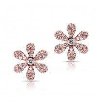 The perfect way to celebrate your feminine side, the 14k white gold diamond floral stud earrings feature approximately 76 diamonds for sparkling pure radiance.