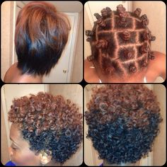 Bantu Knot Out on Blown out flatironed hair