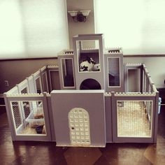 Royal Bunny-Rabbit Castle Fortress Complete w/ Keep, Fortified Walls & Courtyard: enclosure, pen, hutch, indoor, fancy, habitat