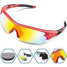 Torege Polarized Sports Sunglasses With 5 Interchangeable Lenes for Men Women Cycling Running Driving Fishing Golf Baseball Glasses TR002 (Red&Black) - http://www.exercisejoy.com/torege-polarized-sports-sunglasses-with-5-interchangeable-lenes-for-men-women-cycling-running-driving-fishing-golf-baseball-glasses-tr002-redblack/cycling/