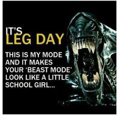 My favorite monster + leg day = love it