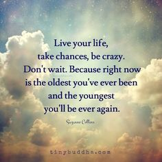Live your life, take chances, be crazy. Don't wait. Because right now is the oldest you've ever been and the youngest you'll be ever again.