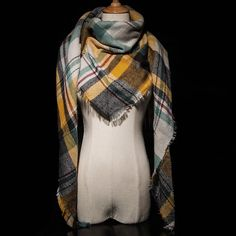 Za Winter luxury Brand Plaid Cashmere Scarf Women Oversized Blanket Scarf Wrap long Wool Scarf Women Pashmina Shawls and Scarves