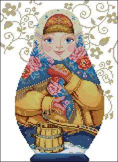 point de croix femme russe saison hiver - cross stitch russian girl season winter