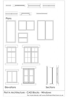 CAD Blocks Windows - First In Architecture Architecture Symbols, Interior Architecture Drawing, Architecture Blueprints, Interior Design Renderings, Interior Sketch, Architecture Plan, Architecture Details, Windows Architecture, Interior Ideas