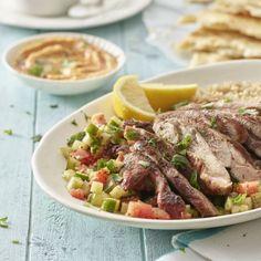 Turkey Shawarma - Locally Raised, Naturally Super Shawarma Chicken, Turkey Thighs, Grilled Turkey, Turkey Burgers, Garlic Sauce, Cucumber Salad, Weight Watchers Meals, Brown Rice, Hummus