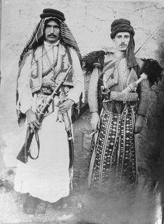Left: Arab Man in traditional Attire. Right: Kurdish Man in traditional Attire from Cizîra Botan, Ottoman Empire, 19th Century.