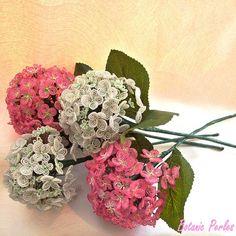 Bouquet d'hortensias réalisés en PERLES ! Botanic Perles