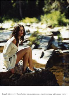 Glamorous camping, off the shoulder never looked so good as beside a mountain stream.