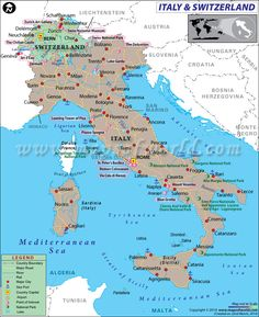 map of italy and switzerland showing the geographical location of the countries along with their capitals international boundaries major cities and point