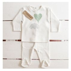 New born organic baby twinset  elefant and green by OncleHope, $31.00