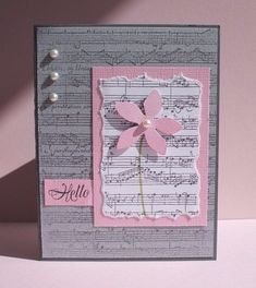 handmade card … luv the pink and light gray color combo … clean and simple design … pearls … music score background … beautiful! Envelopes Decorados, Musical Cards, Tarjetas Diy, Greeting Cards Handmade, Simple Handmade Cards, Beautiful Handmade Cards, Handmade Birthday Cards, Happy Birthday Cards, Birthday Gifts