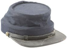 """Military & Patriotic:Civil War, Fine Example of a Civil War Enlisted Chasseur Pattern Cap Worn by aNew Jersey Drummer. This tall """"kepi"""" was worn by Pvt. De..."""