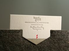 To complement Hard Fraft's 100% wool felt and leather goods, noted cards, merchandise cards and labels were letter pressed on Ahlstrom Blotter.