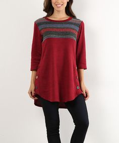Another great find on #zulily! Red Three-Quarter Sleeve Top - Plus #zulilyfinds