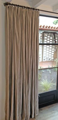 This rough linen curtains and blinds in the family room/kitchen? Drapes And Blinds, Linen Curtains, White Curtains, Drapery, Casa Magnolia, Natural Curtains, Curtain Inspiration, Custom Drapes, Design Websites