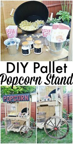 DIY pallet popcorn stand - So easy to build! Great for weddings, graduation parties, birthday parties, more! Would work for a lemonade stand as well. Popcorn Stand, Popcorn Bar, Wooden Pallet Projects, Wooden Pallets, 1001 Pallets, Pallet Crafts, Recycled Pallets, Pallet Party Ideas, Ideas Party