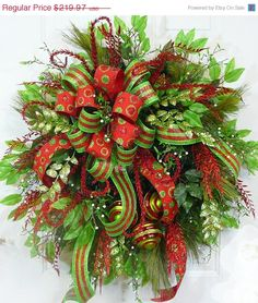 SALE Save 20% CHRISTMAS DOOR Wreath Modern by LadybugWreaths