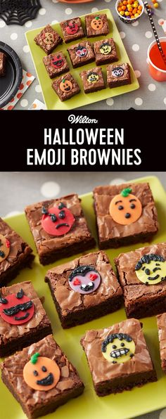 Make Halloween just a little sweeter with these Halloween Emoji Brownies. Featuring cute pumpkins, monsters, devils and more, these Halloween brownies are fun treats to make for a party or bring into the office. Use various colors of Candy Melts candy to make the monster faces, then decorate them with icing to make your very own monster and pumpkin-faced emojis!
