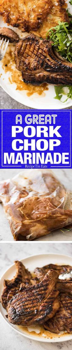 A GREAT marinade for pork chops - makes them extra juicy infuses with savoury flavour and a touch of sweet that caramelises beautifully Pork Chop Recipes, Grilling Recipes, Meat Recipes, Cooking Recipes, Spinach Recipes, Pork Chop Marinade, Recipetin Eats, Recipe Tin, Bon Appetit