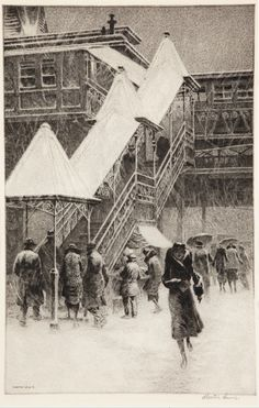 Snow on the El by Martin Lewis