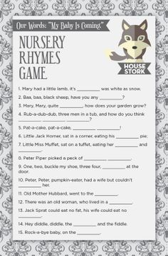 Games Of Thrones Inspired Baby Shower Game & Theme! Complete the classic nursery rhyme games! 1. Like 2. Share 3. Comment Get all the games for the house stork theme set here: http://printmybabyshower.com/product/house-stork-8-printable-baby-shower-games-and-banner/ #GameOfThrones #HouseStark #BabyShower #BabyShowerGames