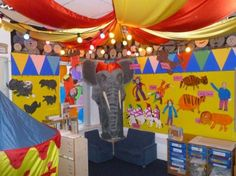 Dramatic Play Area (Circus) - Bulletin Board Design Ideas and Classroom Decorating Design photo Ideas Circus Theme Classroom, New Classroom, Classroom Design, Classroom Decor, Classroom Organization, Organizing, School Displays, Classroom Displays, Classroom Arrangement