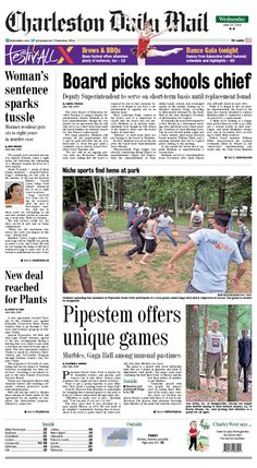 On Wednesday's front, the state Board of Education decided to employ Deputy Superintendent Charles Heinlein as its next superintendent. He will serve on a short-term basis until the search for Jim Phares' replacement is finished. Also, Pipestem State Park offers unusual games to keep its visitors entertained. Activity Director Kim Hawkins says the games are for all ages and can be played with a group. Read more at http://www.charlestondailymail.com/article/20140624/DM01/140629636/1420