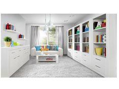 SNOW, obývací pokoj, bílá – vzorová sestava Vzorová sestava obývacího pokoje SNOW Uvádíme pouze jako ilustrativní příklad jedné z možných sestav, kterou lze poskládat z jednotlivých segmentů. Jednotlivé díly si je možno vybrat a koupit … Shelving, Bookcase, Living Room, Furniture, Home Decor, Design, Shelves, Decoration Home, Room Decor