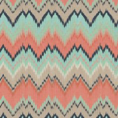 Half Scale Ikat Chevron in Coral, Mint and Navy fabric by willowlanetextiles on Spoonflower - custom fabric