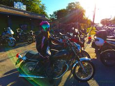 My gal on her 2015 Yamaha SR 400 - Moto GP viewing at the Lost Well in Austin, Texas