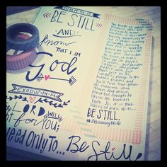 #ScriptureDoodles | Southern Belle Soul, Mountain Bride Heart (Scripture Pen Drawing and Washi Tape) BE STILL Bible Study Tools, Bible Study Journal, Devotional Journal, Journal Art, Art Journals, Scripture Art, Bible Art, Bible Verses, Bible Illustrations