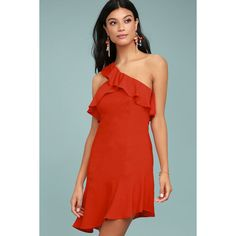 Beautiful View Coral Red One-Shoulder Dress ($46) ❤ liked on Polyvore featuring dresses, red, one shoulder cocktail dress, mini dress, red ruffle dress, coral cocktail dress and ruffle sleeve dress