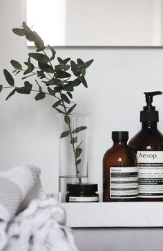 Minimal beauty products and bathroom
