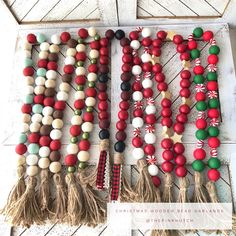 Candy Cane Wishes Wood Bead Garland Christmas Bead Garland, Wood Bead Garland, Handmade Christmas Decorations, Diy Garland, Beaded Garland, Christmas Wood, Diy Christmas Ornaments, Christmas Projects, Holiday Crafts