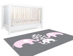 Elephant Rug Elephant Nursery Rug Elephant Decor Pink Elephant Nursery Nursery E - Modern Pink Elephant Nursery, Elephant Baby Bedding, Pink And Gray Nursery, Elephant Art, Elephant Theme, Baby Nursery Themes, Nursery Rugs, Girl Nursery, Nursery Ideas