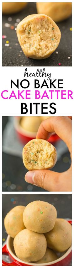 Healthy No Bake Cake Batter Bites- A quick, easy and healthy recipe which tastes like dessert but is ridiculously healthy! {vegan, gluten free, paleo and high protein option}- thebigmansworld.com